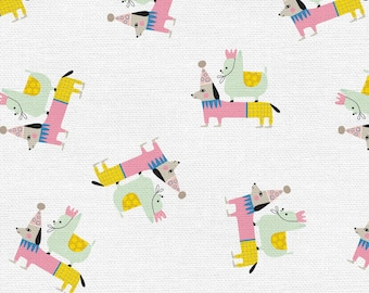 Step Right Up Collection - White - Animals - Clown Dog - Quilting Cotton Fabric - by Suzy Ultman - ( PSF120-21349 )
