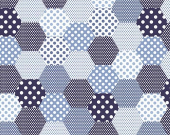 Set Sail America - Blue - Hexagon - Dots - Quilting Cotton Fabric - by Lindsay Wilkes for Riley Blake Designs - ( C10511-BLUE )