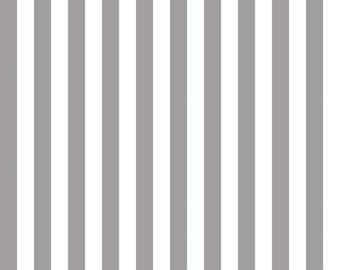 "Gray and White - 1/2"" Half Inch Stripe - Quilting Cotton Fabric - Riley Blake Designs - ( C530-40-GRAY )"