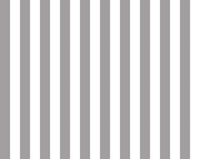 "Gray and White - 1/2"" Half Inch Stripe - Quilting Cotton Fabric - Riley Blake Designs - ( C530-40-GRAY )"