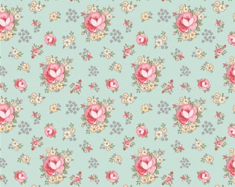 Dots and Posies Collection - Teal - Prim Roses - Quilting Cotton Fabric - by Poppie Cotton Fabrics - ( DP20411 )