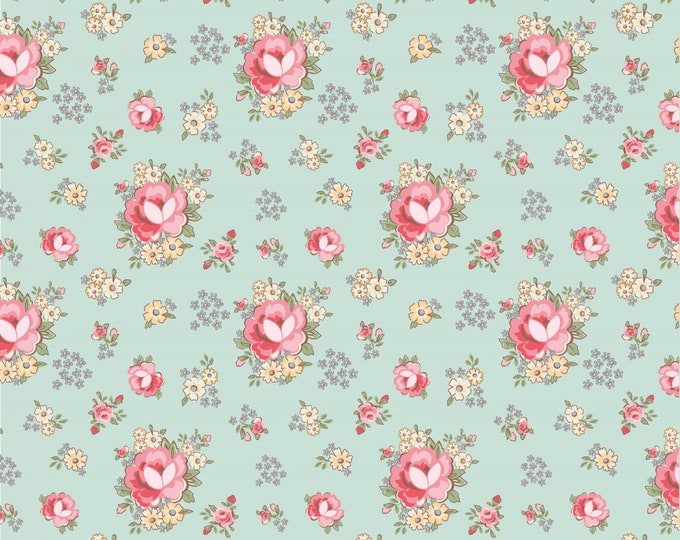 Teal - Prim Roses - Dots and Posies Collection - Quilting Cotton Fabric - by Poppie Cotton Fabrics - ( DP20411 )