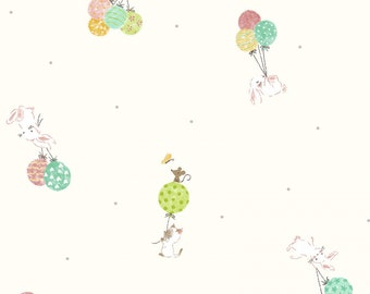Kids Land - Bunnies with Balloons - Cream - 100% Cotton - Poplin - Cosmo - ( COSSP2100-3A )