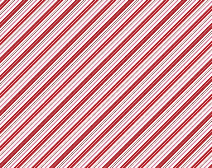Red - Stripes - Diagonal - Red, Pink, & White - Santa Claus Lane Collection - by Melissa Mortenson for Riley Blake Designs ( C9616-RED )