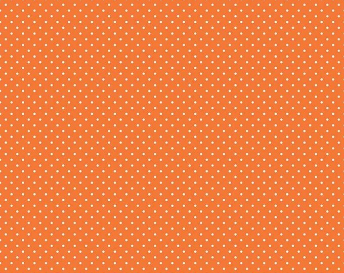 Orange - Swiss Dot with White Dots -  Polka Dot - Quilting Cotton Fabric - Riley Blake Designs - ( C670-60-ORANGE )