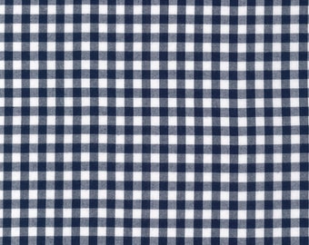 """Navy - Gingham - 1/4"""" inch - Caronlina Gingham Collection - Yarn Dye - Quilting Cotton Fabric - by Robert Kaufman - ( P-16368-9 )"""