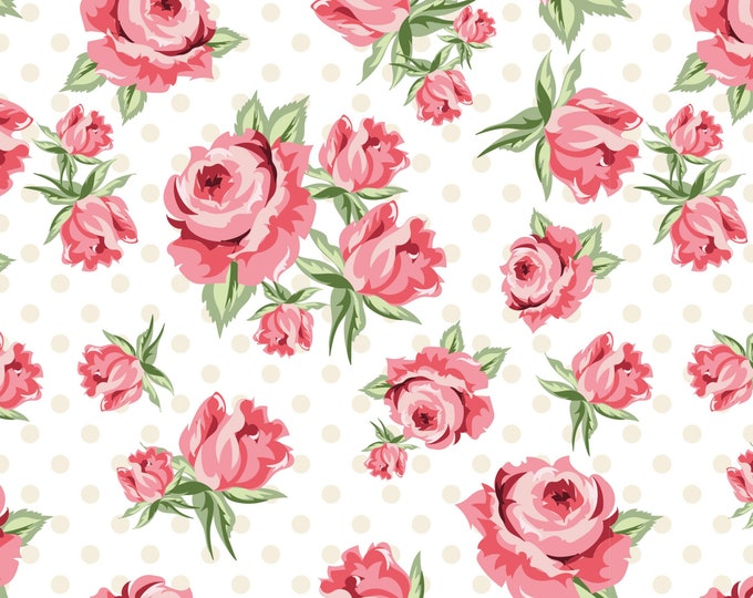White - Prize Roses - Dots and Posies Collection - Quilting Cotton Fabric - by Poppie Cotton Fabrics - ( DP20400 )