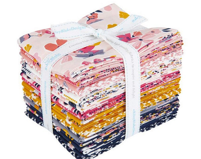 Golden Aster - Fat Quarter Bundle - 21 Fabrics - Quilting Cotton Fabric - by Gabrielle Neil for Riley Blake Designs - ( FQ-9840-21 )