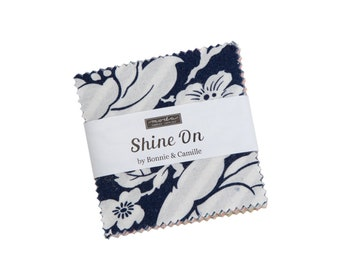 """Shine On Collection - 2.5"""" inch Charm Pack - 2 1/2"""" inch Stacker Bundle - Mini Charm - Quilting Cotton Fabric - Moda - ( 55210MC )"""