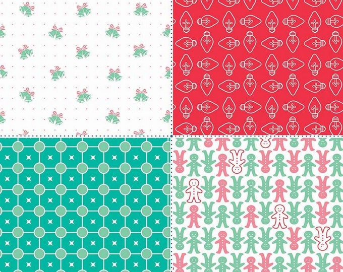 SALE - Red - Fat Quarter Panel - Cozy Christmas Collection - Lori Holt of Bee in My Bonnet for Riley Blake Designs - ( FQP-7974-RED )