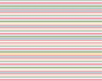 Dots and Posies Collection - Multi Color - Vertical Stripes - Quilting Cotton Fabric - by Poppie Cotton Fabrics - ( DP20403 )