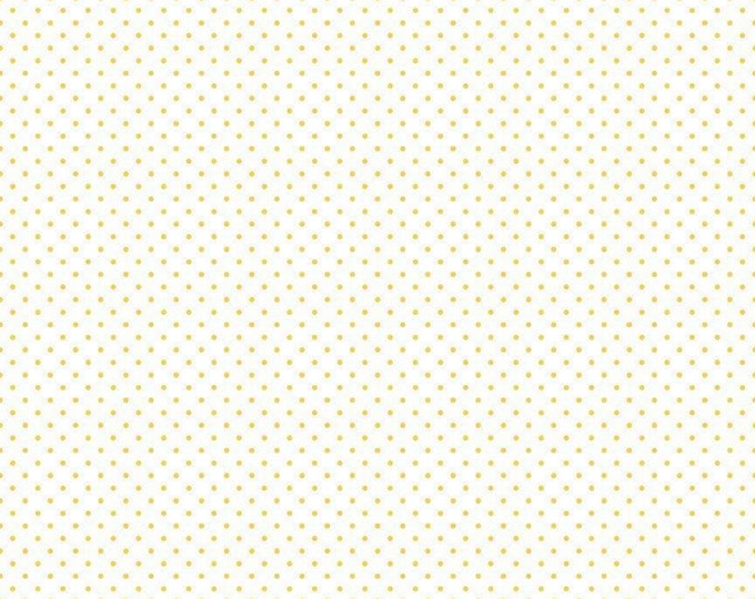 Yellow - Swiss Dot on White Collection - Polka Dot - Quilting Cotton Fabric - Riley Blake Designs - ( C660-50-YELLOW )