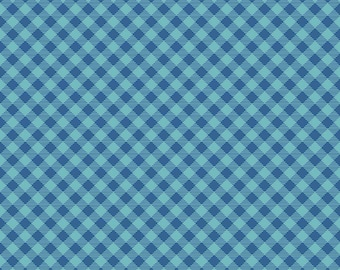 Cozy Christmas Collection - Blue - Gingham - Quilting Fabric - by Lori Holt of Bee in My Bonnet for Riley Blake Designs - ( C7972-BLUE )