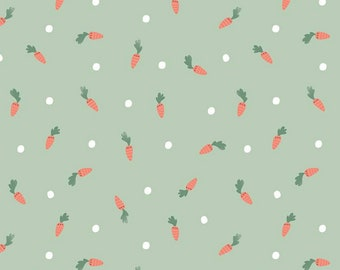 Easter Egg Hunt Collection - Mint - Carrots - Quilting Cotton Fabric - by Natàlia Juan Abelló for Riley Blake Designs - ( C10272-MINT )