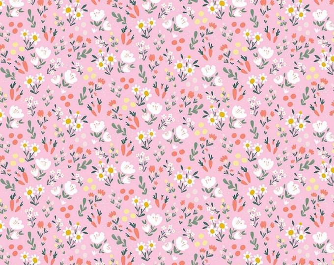 Pink - Floral - Easter Egg Hunt - Quilting Cotton Fabric - by Natàlia Juan Abelló for Riley Blake Designs - ( C10274-PINK )