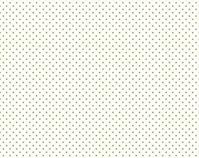 Clover - Green - Le Creme - Swiss Dot - Polka Dot - Quilting Cotton Fabric - Riley Blake Designs - ( C600-CLOVER )
