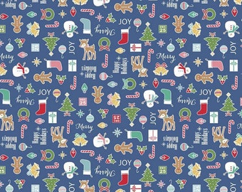Cozy Christmas Collection - Navy - Main - Quilting Cotton Fabric - by Lori Holt of Bee in My Bonnet for Riley Blake Designs - ( C5360-NAVY )