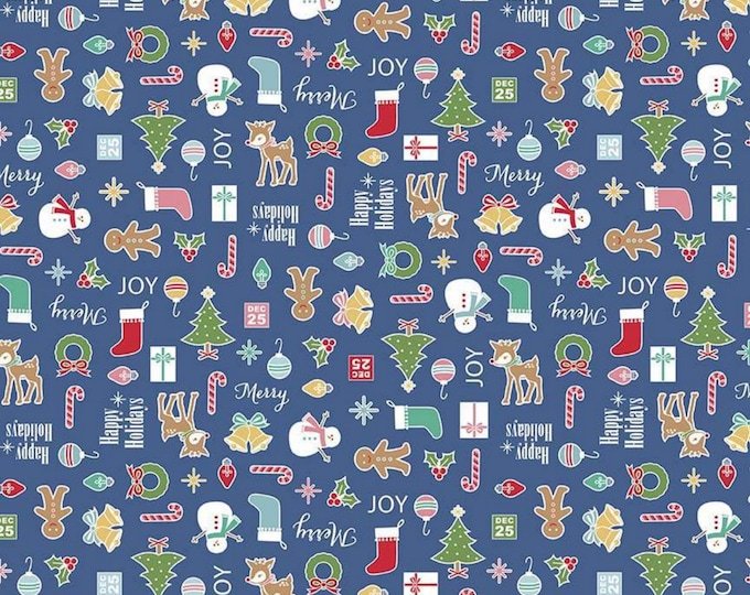 Navy - Main - Cozy Christmas Collection - Quilting Fabric - Lori Holt of Bee in My Bonnet for Riley Blake Designs - ( C5360-NAVY )