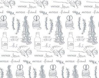 Cream - Wide Back - Text - Idyllic - Vintage Embroidery - by Minki Kim for Riley Blake Designs - ( WB9887-CREAM )