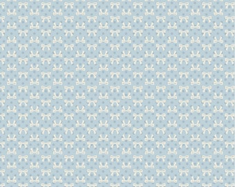 Dots and Posies Collection - Blue - Bows - Quilting Cotton Fabric - by Poppie Cotton Fabrics - ( DP20408 )