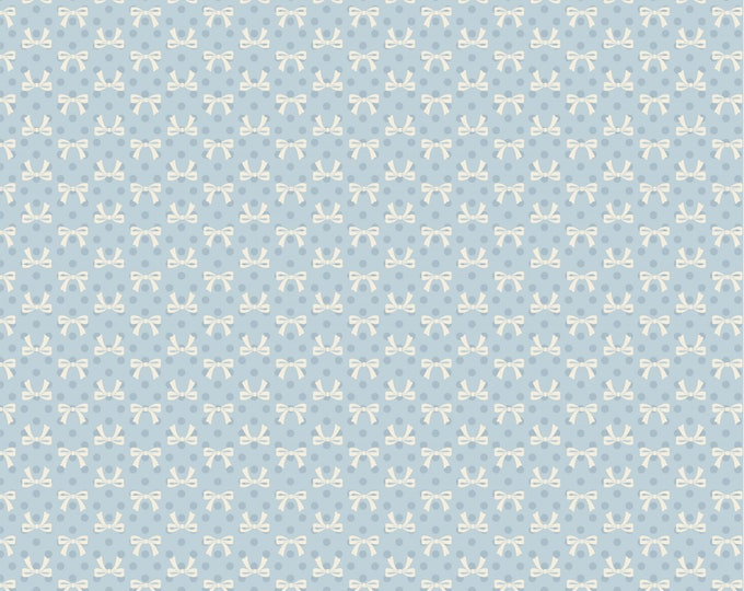 Blue - Bows - Dots and Posies Collection - Quilting Cotton Fabric - by Poppie Cotton Fabrics - ( DP20408 )