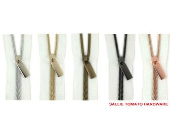 """Nylon Coil Zippers - White - #5 - 3 Yard: 36"""" x 43""""s with 9 Pulls - by Sallie Tomato - ( ZBY5C-WHITE )"""