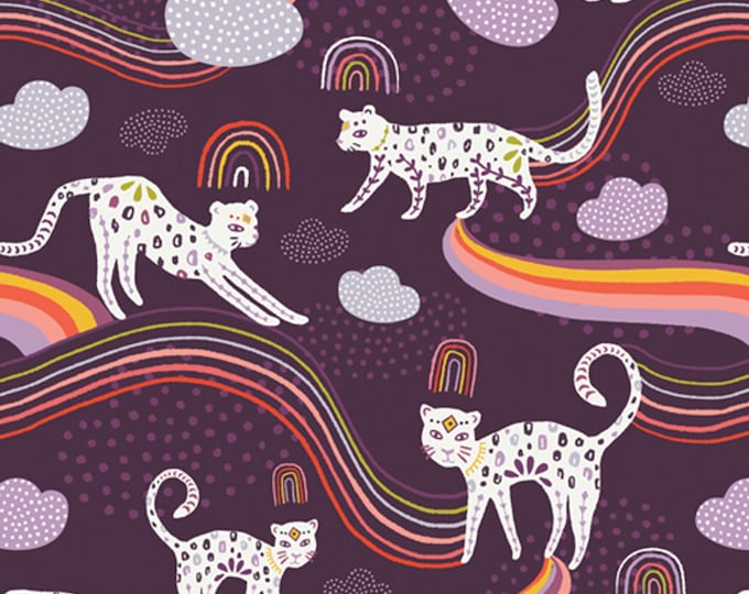 Rainbow Jaguar - Kushukuru Collection - Quilting, Apparel, Cotton Fabric - by Jessica Swift for Art Gallery Fabrics - AGF - ( KUS-23704 )