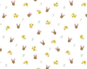 Easter Egg Hunt Collection - White - Bunnies - Quilting Cotton Fabric - by Natàlia Juan Abelló for Riley Blake Designs - ( C10273-WHITE )