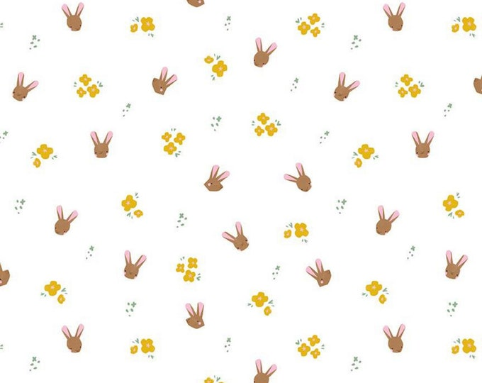 White - Bunnies - Easter Egg Hunt - Quilting Cotton Fabric - by Natàlia Juan Abelló for Riley Blake Designs - ( C10273-WHITE )