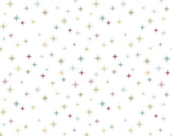 Cozy Christmas Collection - White - Sparkle - Quilting Fabric - by Lori Holt of Bee in My Bonnet for Riley Blake Designs ( C5365-WHITE )