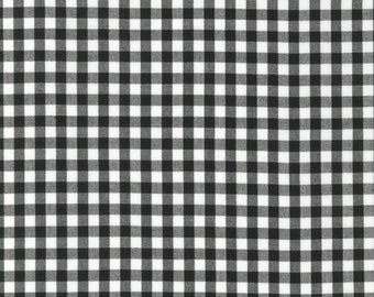 """Black - Gingham - 1/4"""" inch - Caronlina Gingham Collection - Yarn Dye - Quilting Cotton Fabric - by Robert Kaufman - ( P-16368-2 )"""