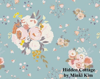 Hidden Cottage - Main - Sky - Quilting Cotton Fabric - by Minki Kim for Riley Blake Designs - ( C10760-SKY )