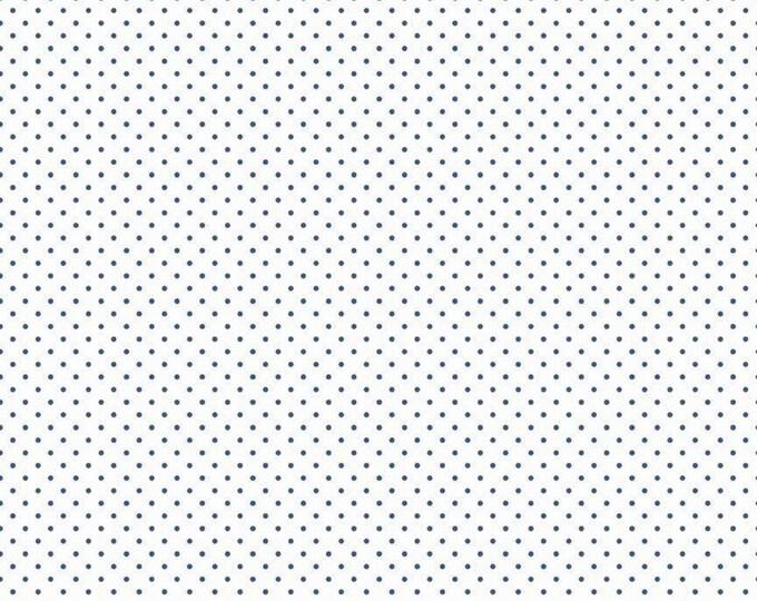 Denim - Swiss Dot on White - Polka Dot - Quilting Cotton Fabric - Riley Blake Designs - ( C660-DENIM )
