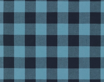 "SALE! - Carolina Gingham Collection - Blue - Indigo - 1"" inch - Yarn Dye -Quilting Cotton Fabric - by Robert Kaufman-( P-9811-62 )"