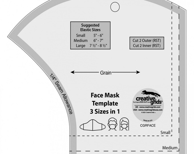 Face Mask - Creative Grids - Template - 3 Sizes in 1 - Acrylic Template -  by Creative Grids - ( CGRFACE )