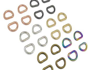 """D-Ring - 1/2"""" - by Emmaline - 1/2 Inch - .5"""" Inch - Half Inch - 12mm - Multiple Colors - Bag Hardware - ( DRNG-1/2INCH )"""