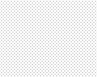 Swiss Dot on White Collection - Steel - Polka Dot - Quilting Cotton Fabric - Riley Blake Designs - ( C660-STEEL )