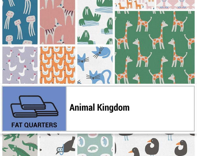 Animal Kingdom Collection - Animals - Fat Quarter Bundle - 17 Fabrics - Quilting Fabric - by Jessica Nielsen - ( PSF120-FQAK )