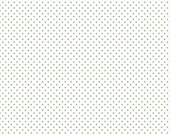 Swiss Dot on White Collection - Green - Clover - Polka Dot - Quilting Cotton Fabric - Riley Blake Designs - ( C660-CLOVER )