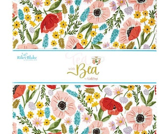 """Tea with Bea Collection - 10"""" Inch Stacker - 42 Pieces of Fabrics - by Katherine Lenius for Riley Blake Designs - ( 10-10490-42 )"""