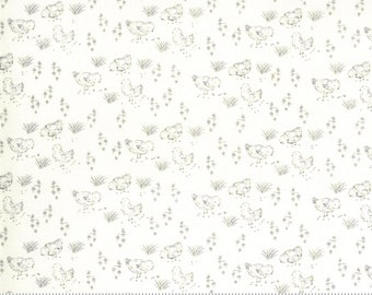 Break of Day - Ivory - Charcoal - Chickens - Quilting Cotton Fabric - by Sweetfire Road for Moda - ( 43105 21 )