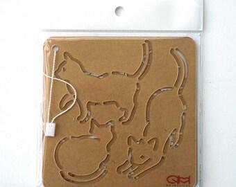 """Sashiko Stencil Neko - Cat - Set of 2 Sizes - 4"""" x 4"""" -&- 4.5"""" x 4.5"""" - ( QSS-2019-20 )"""