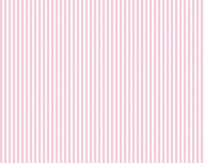 Peony and White - 1/8 Eighth Inch Stripe - Quilting Cotton Fabric - Riley Blake Designs - ( 495-PEONY )