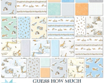 """Guess How Much I Love You  - 10"""" inch Stacker - Layer Cake - Quilting Cotton Fabric - By Anita Jeram for Clothworks - ( TSQ0294-42 )"""
