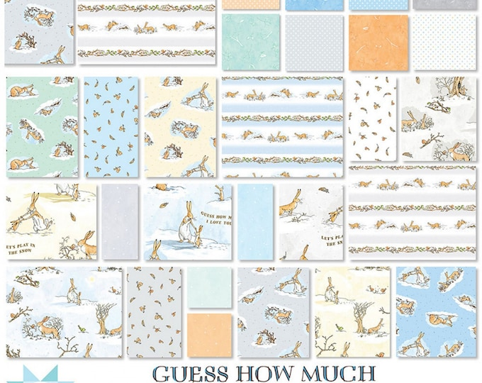 "Guess How Much I Love You  - 10"" inch Stacker - Layer Cake - Quilting Cotton Fabric - By Anita Jeram for Clothworks - ( TSQ0294-42 )"