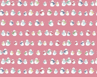 Pink - Snowmen - Cozy Christmas Collection - Quilting Cotton Fabric - Lori Holt of Bee in My Bonnet for Riley Blake Designs - ( C5363-PINK )