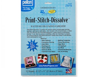 Print-Stitch-Dissolve - White - 12- 8-1/2in x 11in - 12 Sheets - by Pellon - ( 2301SP )