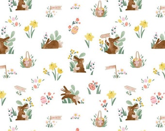 Easter Egg Hunt Collection - White - Main - Quilting Cotton Fabric - by Natàlia Juan Abelló for Riley Blake Designs - ( C10270-WHITE )