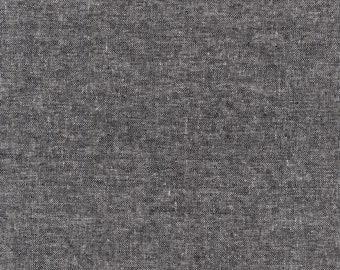 Black - Essex - Canvas Yarn Dyed 6.5oz - Linen Cotton - by Robert Kaufman - ( E120-BLACK )