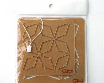 """Sashiko Stencil - Kakuk Shippo - Set of 2 sizes - 4"""" x 4"""" -&- 4.5"""" x 4.5"""" - ( QSS2019-14 )"""